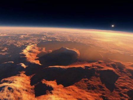 Olimpos Mons, em cujas franjas está localizada a principal academia militar da Latinoamérica, é a maior elevação do planeta Marte.